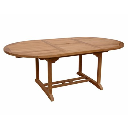 Anderson Teak Bahama Oval Extension Thick Wood Outdoor Dining Table - Teak oval extension dining table