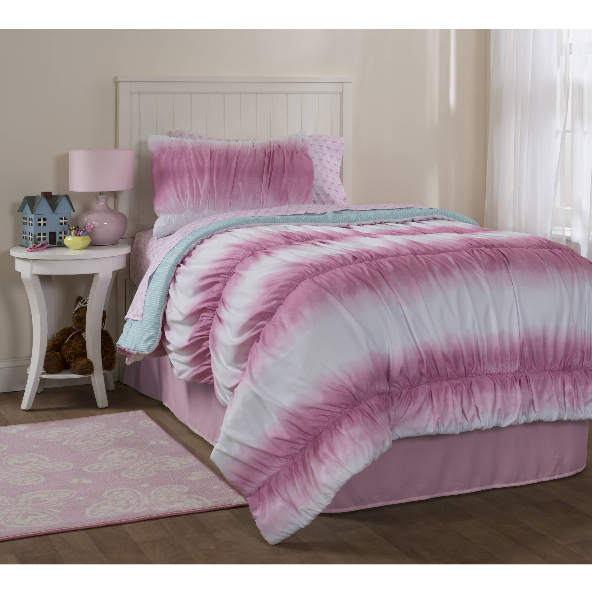 Mainstays Kids Ruched Tie Dye Bed in a Bag Bedding Set