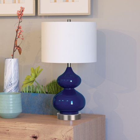 Katrin Coastal Glam Double Gourd Table Lamp in Navy Blue with Linen Shade ()