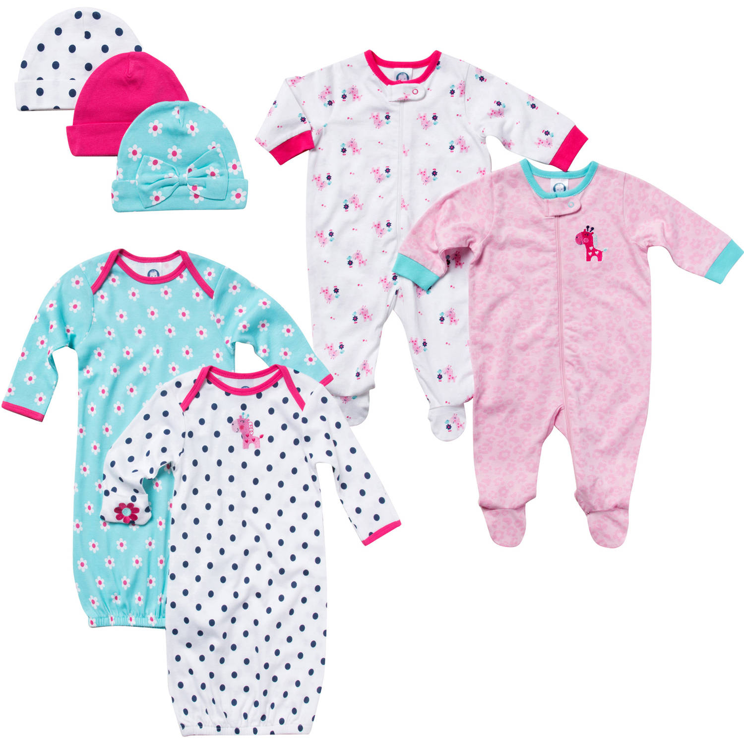 Gerber Newborn Baby Girl 7-Piece Day & Night Gift Set 0-3M