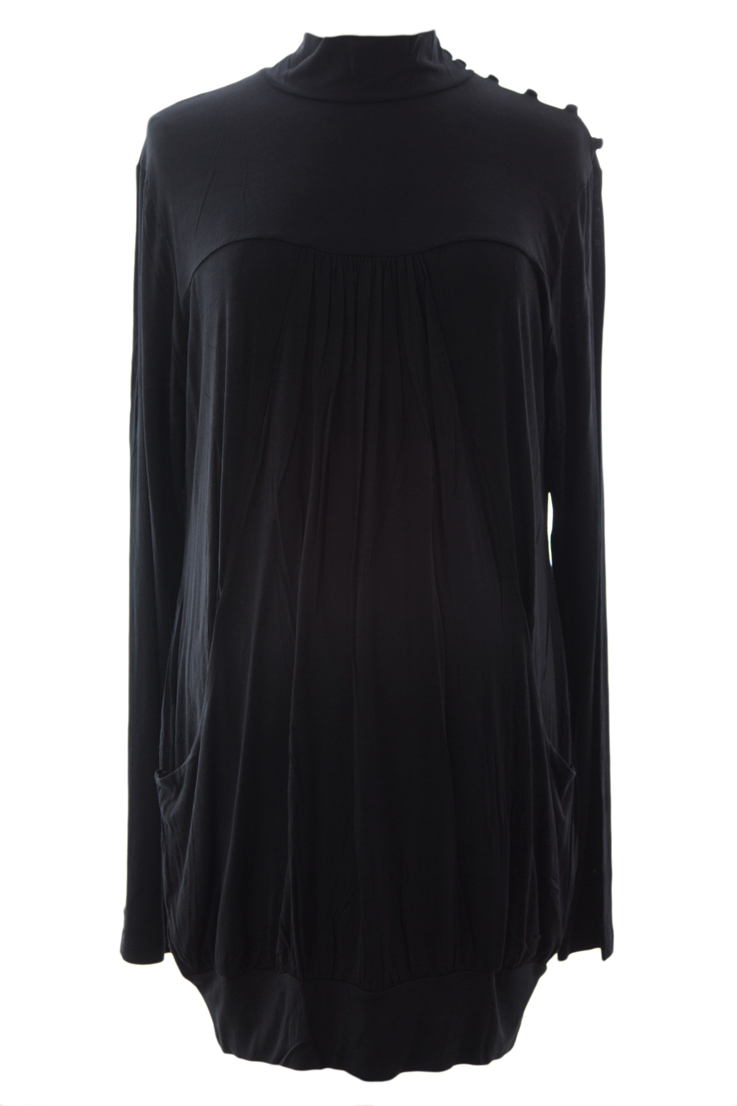 OLIAN Maternity Women's Front Pocket Mock Neck Tunic Top