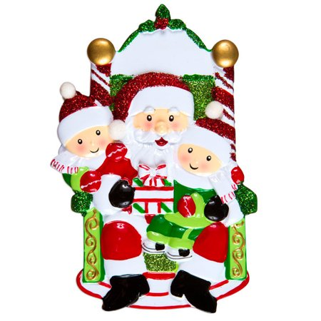 Two Child On Santas Lap Personalized Christmas Ornament Do It Yourself