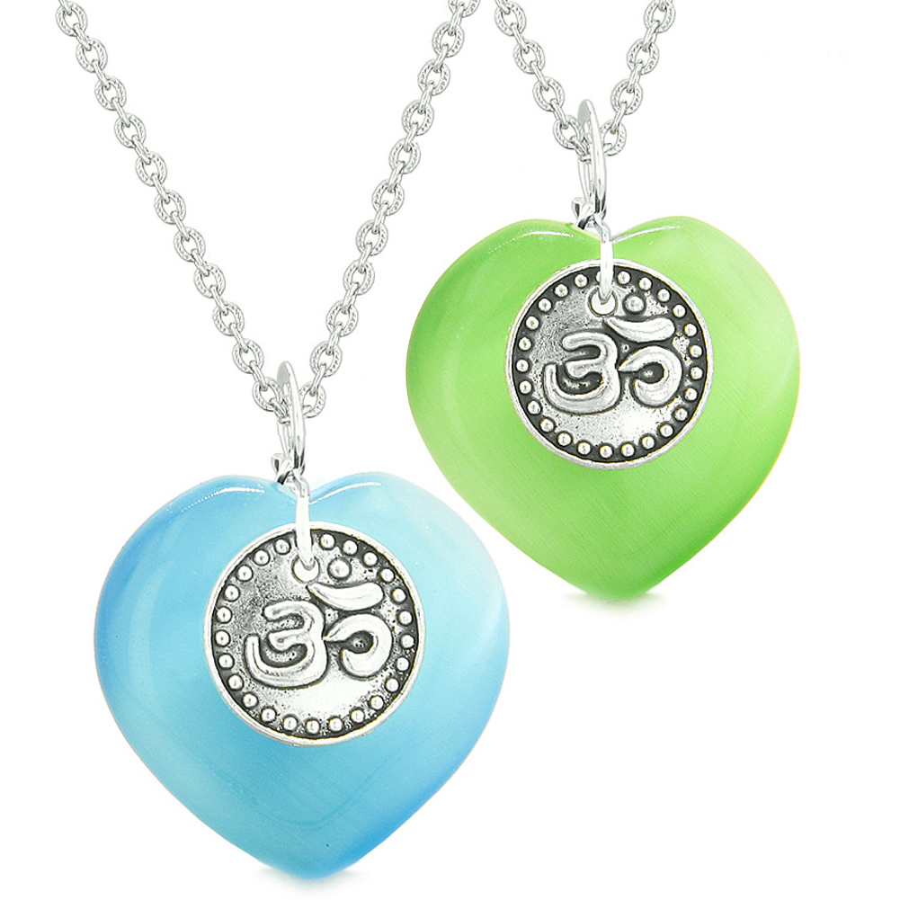 Spiritual OM Amulets Love Couples or Best Friends Hearts Neon Green Sky Blue Simulated Cats Eye Necklaces