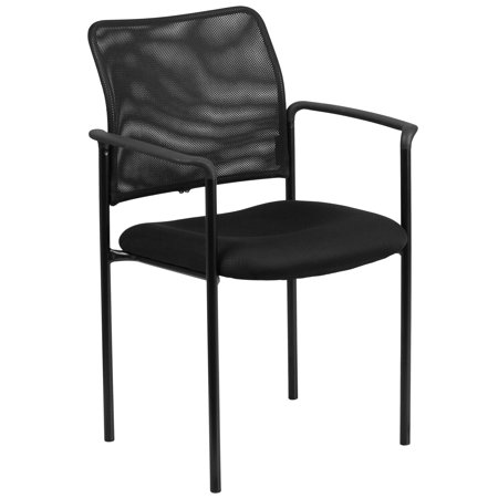 Steel Wide Chair (Flash Furniture Black Mesh Comfortable Stackable Steel Side Chair with Arms Black )