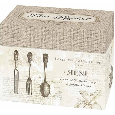 """Lillian Rose """"Bon Appetit"""" Recipe Card Box, Tan"""