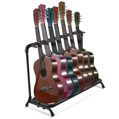 multi guitar stand 7 multiple holder instrument display stand folding padded storage organizer. Black Bedroom Furniture Sets. Home Design Ideas