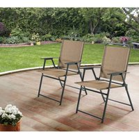 Mainstays Pleasant Grove Sling Folding Chair, Set of 2 - Beige