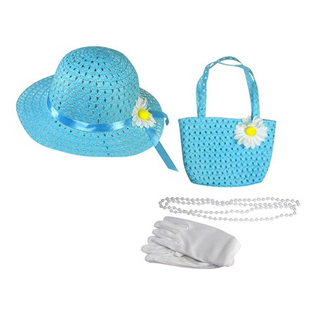 Girls Tea Party Dress Up Play Set With Sun Hat, Purse, White Gloves, and Plastic Pearl Necklace - Blue](Tea Party Hats And Gloves)