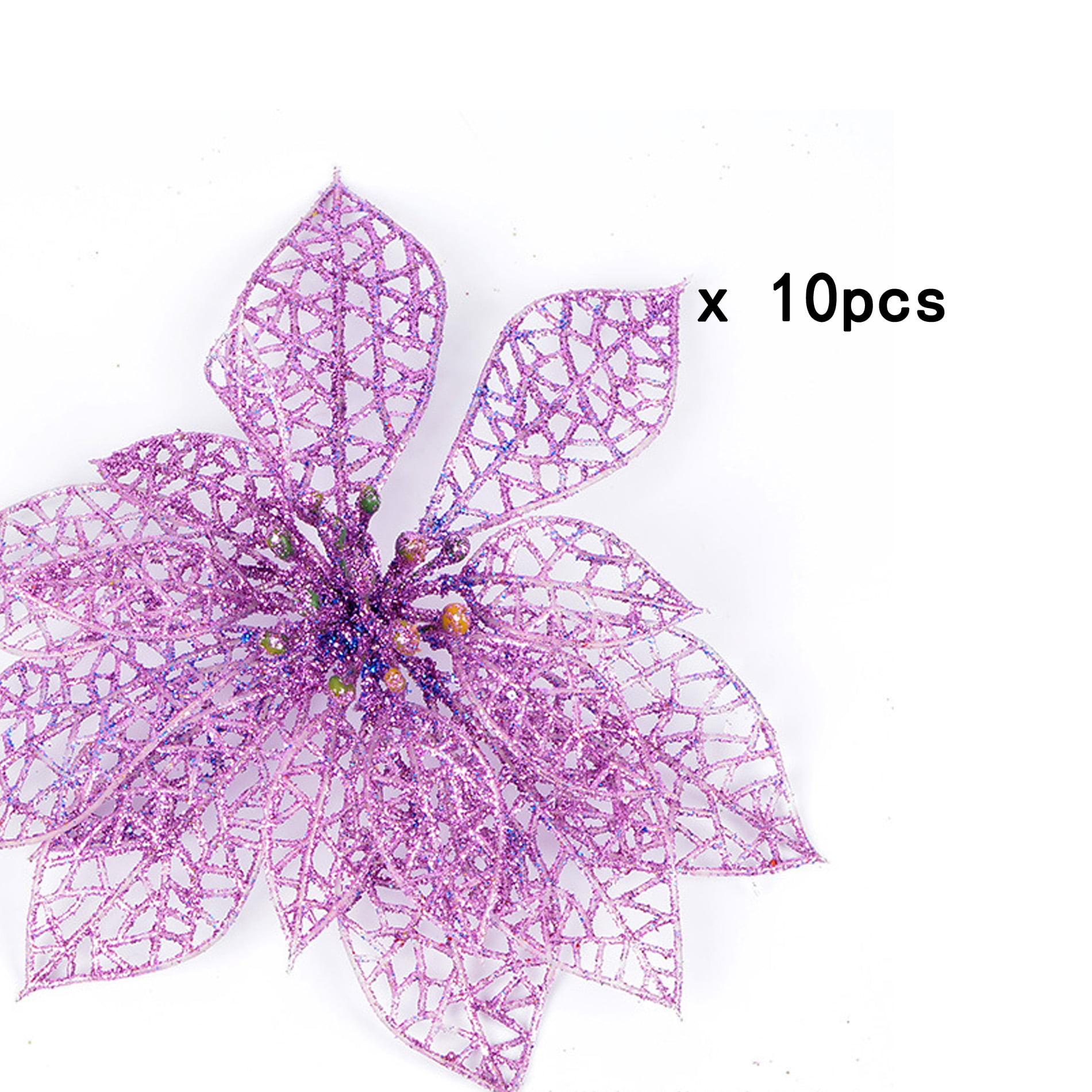 10 x Christmas Tree Artificial Glitter Flowers for Xmas Tree Decor Wedding Party