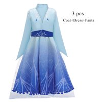 Princess Elsa 2 Costume for Girls Snow Queen Suits for Cosplay Party Age 3-8 Years