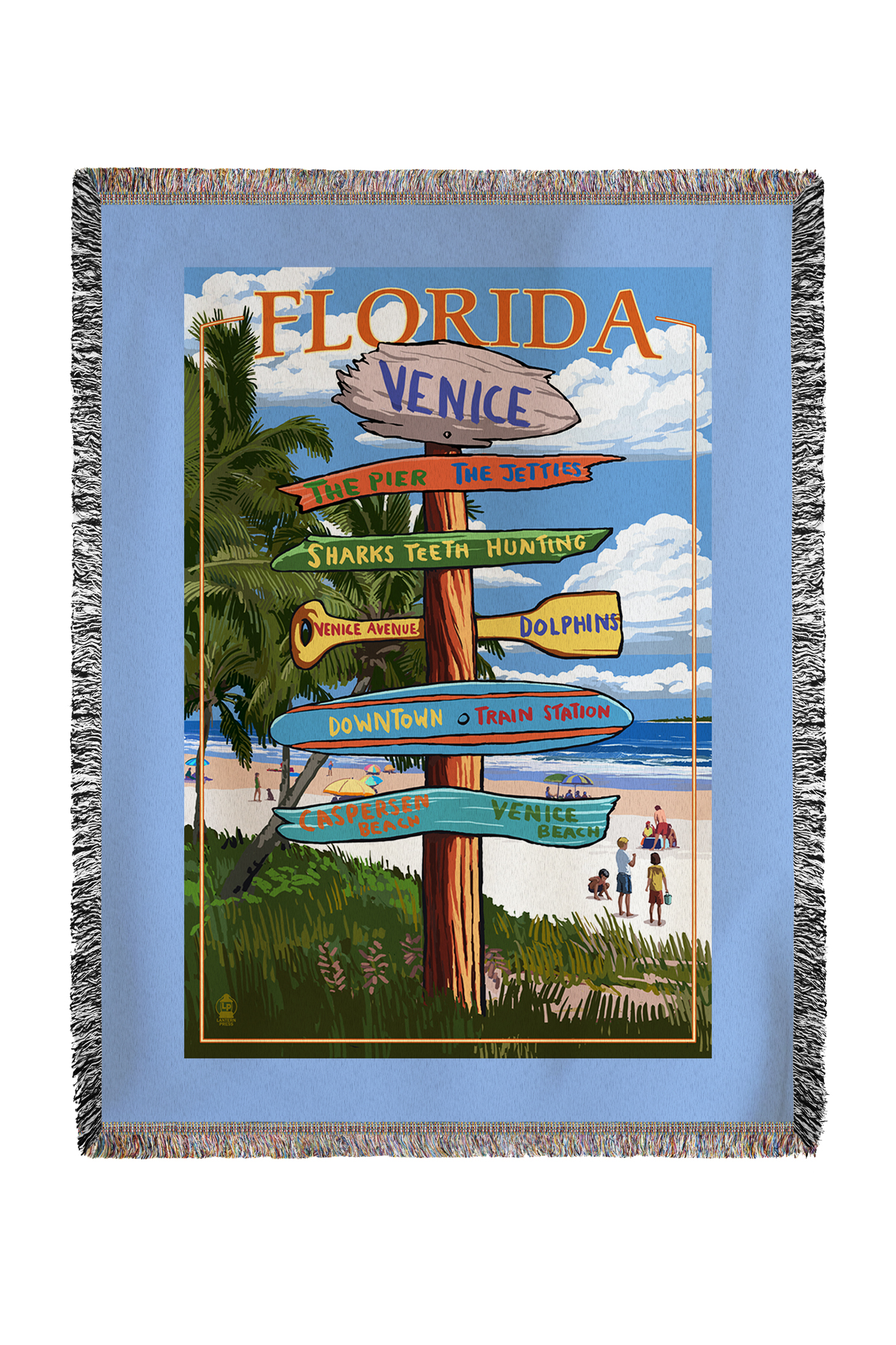 Venice, Florida Sign Post Lantern Press Artwork (60x80 Woven Chenille Yarn Blanket) by Lantern Press