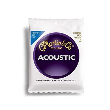 M150 80/20 Acoustic Guitar Strings, Medium 3 Pack, Martin M150 80/20 Acoustic Guitar Strings, Medium 3 Pack By - 3 Pack Acoustic Guitar Strings