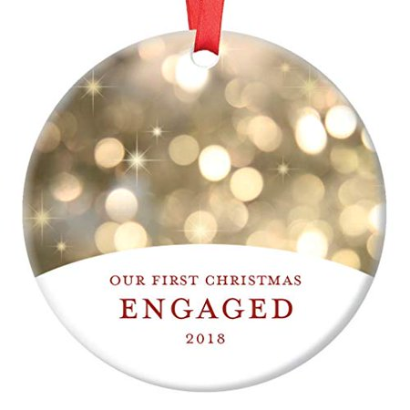 Our First Christmas Engaged, Engagement Ornament 2018 Fiance Fiance Couple Present Idea Classy Champagne Bokeh