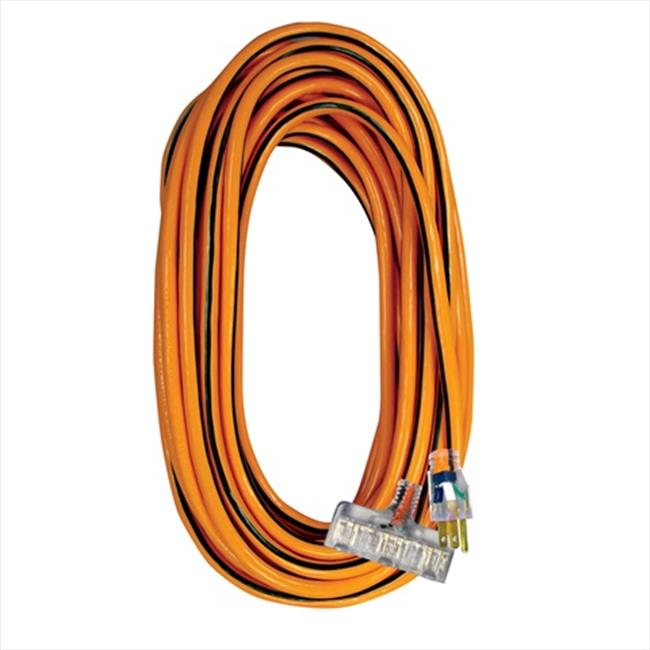 Voltec 05-00122 100 ft. SJTW Orange-Black Power Block Extension Cord With Lighted End, Case Of 4