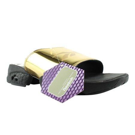 fb0cfcfe2b56a1 Reebok - Reebok CLASSICS FURY SLIDE Gold Met Black White Slides Womens  Sandals Size 10 New - Walmart.com