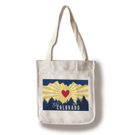 Ski Colorado - Heart & Treeline - Lantern Press Poster (100% Cotton Tote Bag - Reusable)