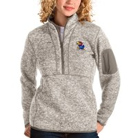 Kansas Jayhawks Antigua Women's Fortune Half-Zip Pullover Sweater - Oatmeal