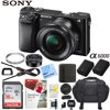 Sony Alpha a6000 Mirrorless Digital Camera 24.3MP SLR (Black) w/ 16-50mm Lens ILCE-6000L/B with Extra Battery Case 2x 32GB Memory Deluxe Pro Bundle E55SNILCE6000LB CAMERA INCLUDES:Sony Alpha A6000 Mirrorless Digital Camera (Black)Sony 16-50mm f/3.5-5.6 OSS LensNP-FW50 Lithium-Ion Rechargeable Battery (1020mAh)Eye PieceAC Adapter AC-UB10Micro USB CableNeck StrapLimited 1-Year WarrantyBUNDLE INCLUDES:SanDisk Ultra SDHC 16GB UHS Class 10 Memory Card, Up to 80MB/s Read SpeedMemory Card Reader, Card Wallet, Mini Tripod, Cleaning Kit and More40.5mm Clear Glass UV FilterLarge Gadget Bag for SLR Digital CamerasNP-FW50 Replacement Camera BatteryCorel Paint Shop Pro X9 (Digital Download Card)Compact and Lightweight Mirrorless DSLR The a6000 is a super-compact mirrorless camera that's about half the size and weight of a typical DSLR, yet it has the same size APS-C sensor as most DSLRs. The interchangeable lenses and E-mount system make the a6000 more versatile than almost any other camera on the market. High Resolution 24MP APS-C Sensor Get incredible detail and gorgeous enlargements thanks to the 24.3 megapixel Exmor APS HD CMOS sensor. It has higher resolution than most DSLRs and adopts the same gapless on-chip lens structure as the a7R for ultimate image quality and light sensitivity. Better Images through BIONZ X Processing The BIONZ X image processor faithfully reproduces textures and details in real time via extra high-speed processing capabilities delivering true-to-life images - as seen by the naked eye. It enables greater natural detail, richer tonal gradations, lower noise and more realistic images whether you shoot stills or video. Ultra-fast Response Capture the perfect moment- the a6000 realizes 11 frames per second continuous shooting with AF (Auto Focus) tracking by making the most of the wide-area 179-point phase-detection AF sensor. Even when dealing with a moving subject the a6000's superb moving-subject tracking performance ensures you get the shot during st