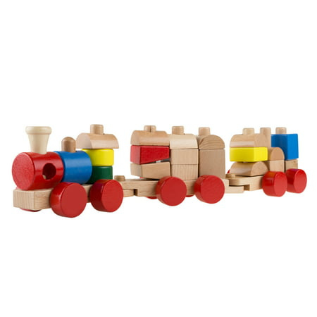 Wooden Toy Stacking Learning Train Set with 20 Interchangeable Wooden Blocks for Boys and Girls, Toddlers by Hey!