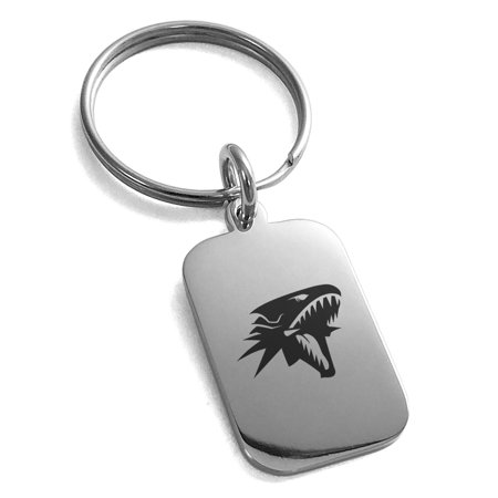 Yu-Gi-Oh! Blue-Eyes White Dragon Stainless Steel Engraved Small Rectangle Dog Tag Charm Keychain Keyring