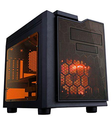 Pc Gaming Case, Orange Led Fan Flip Open Design Dust Filter Desktop Pc Tower