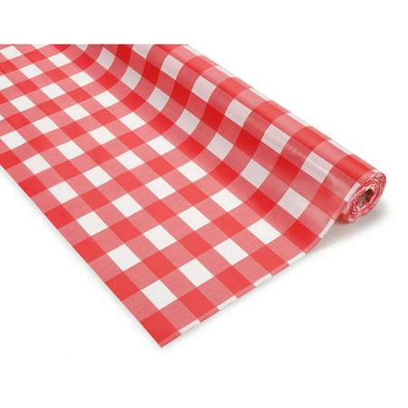 Darice Plastic Table Cover Roll - Red and White Checker - 40 in x 100 feet - Red And White Checkered Plastic Tablecloth