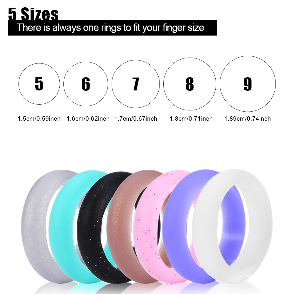 5 Sizes 7Pcs Colors Silicone Wedding Ring Set Outdoor Workout Flexible Band , Silicone Ring Band