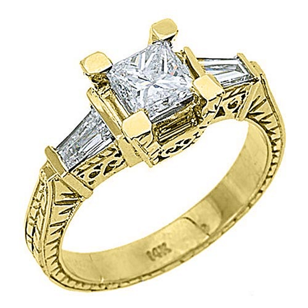 14k Yellow Gold 1.90 Carats Princess & Baguette Antique Diamond Engagement Ring by TheJewelryMaster