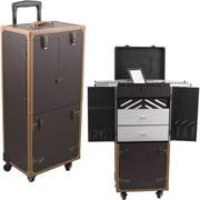 Sunrise C6019PVBR Brown Leather 4-Wheel Case