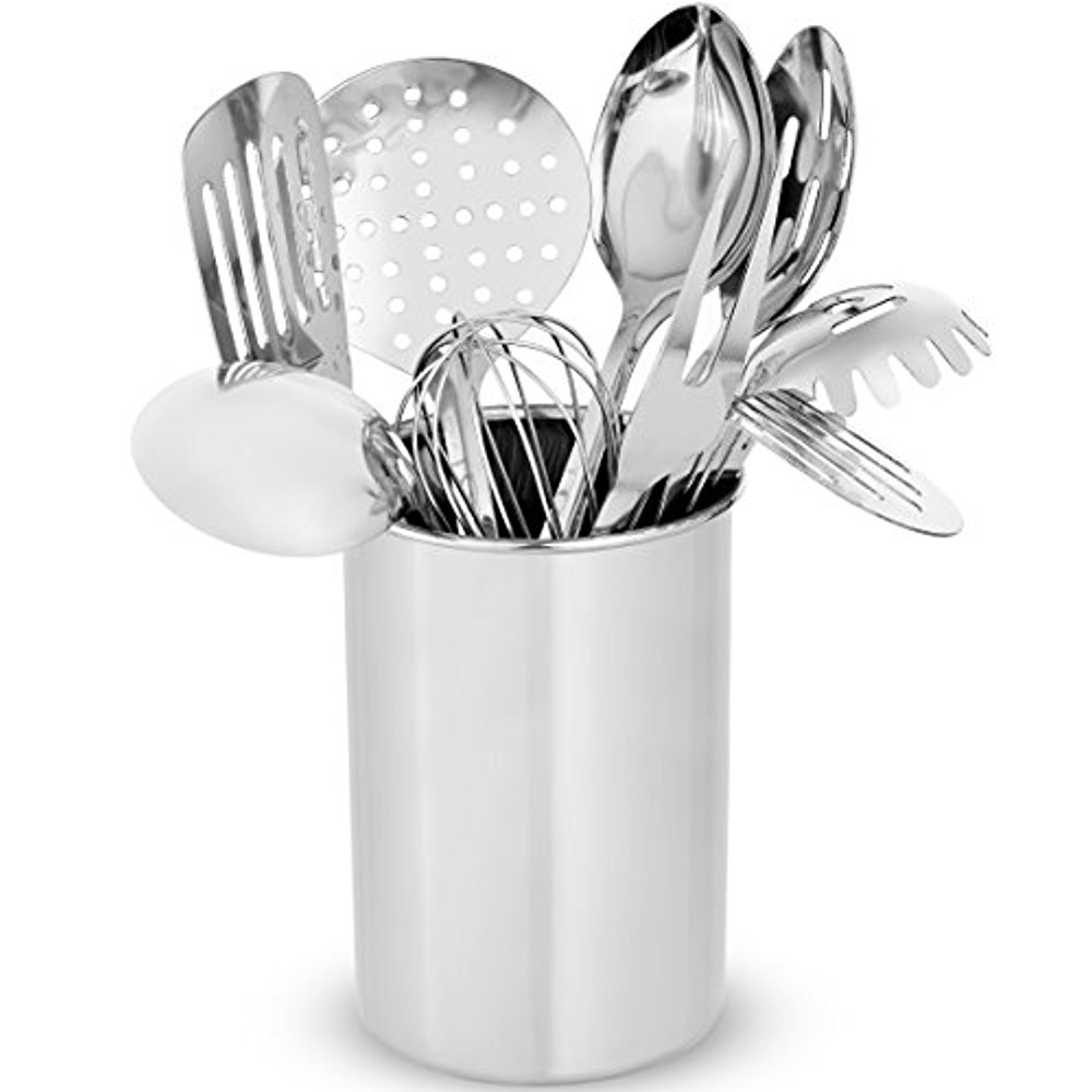 Premium Stylish 10-Piece Kitchen Utensil Set, Modern Stainless Steel Gadgets for Everyday Cooking - Turner, Spaghetti Server, Ladles, Spoons, Whisk, Meat Fork, and Tool Set Holder