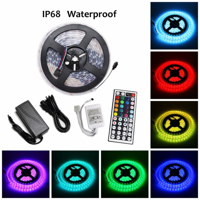 LED4Everything (TM) 5M SMD RGB 5050 IP68 Waterproof 300 LED Strip Light 44 Key Remote 12V Power Kit