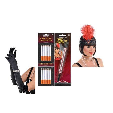 Amscan Gatsby Era Headpiece, cigarette Holder, Fake Cigarettes and Black Skin - Gatsby Accessories