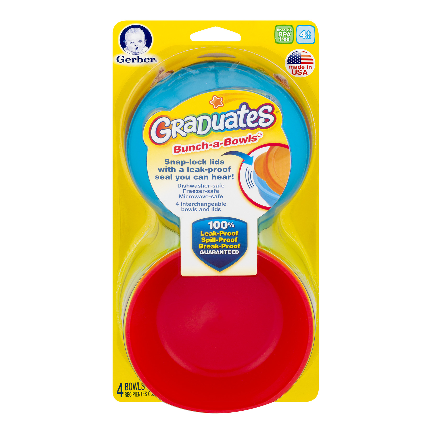 Gerber Bunch-a-Bowls with Lids 4+m - 4 CT