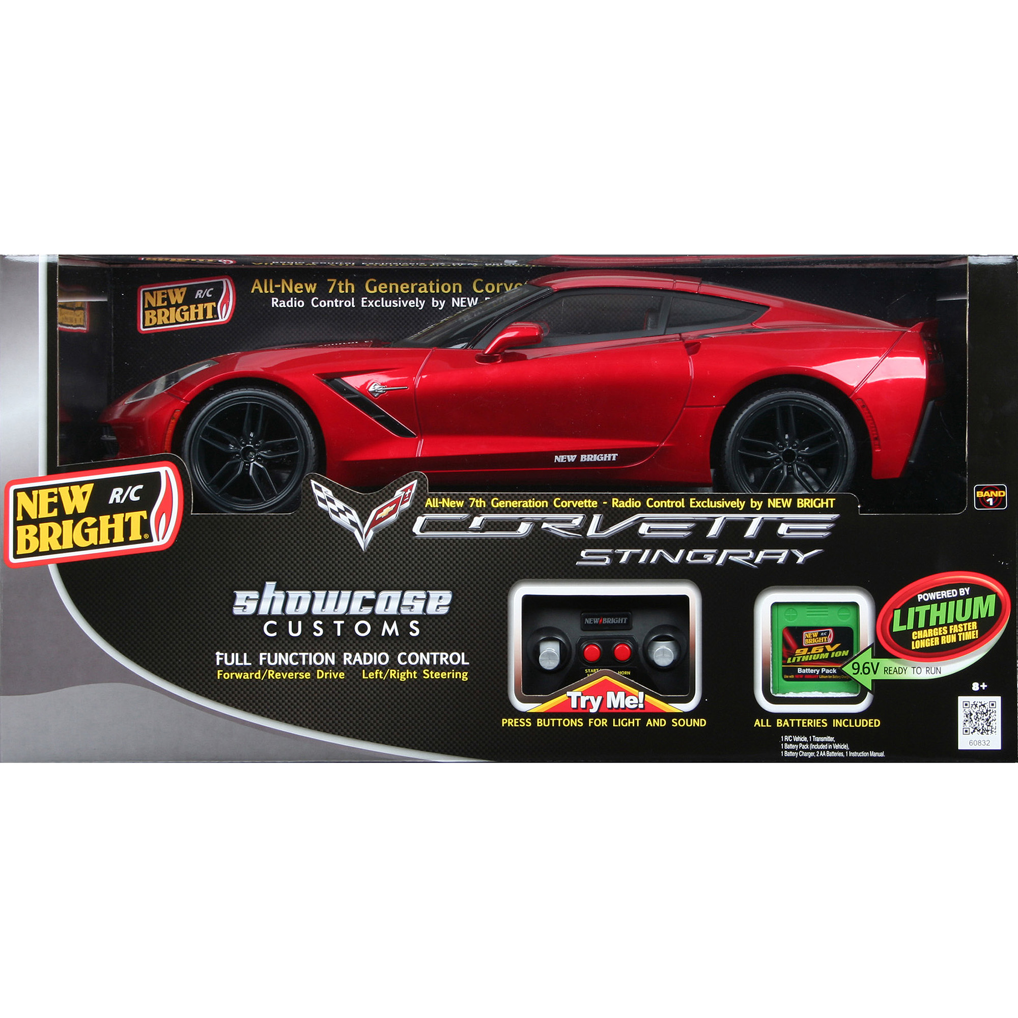 New Bright 1:8 Radio Control Full-Function 9.6V Corvette C7, Red