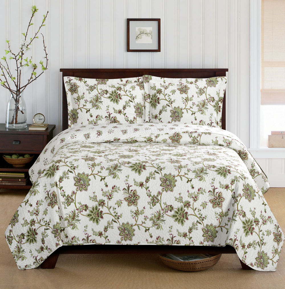 Carrie Oversize Coverlet Floral Wrinkle-Free Reversible Set - Twin/Twin XL