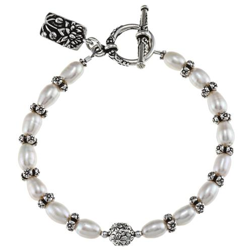 Lolas Jewelry Lola's Jewelry Pewter White FW Pearl and Lotus Charm Bracelet (7-8 mm)