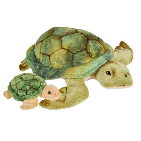 Wildlife Tree Stuffed Sea Turtle Mom and Baby Plush Floppy Animal Kingdom Family Yellow Sea Animal