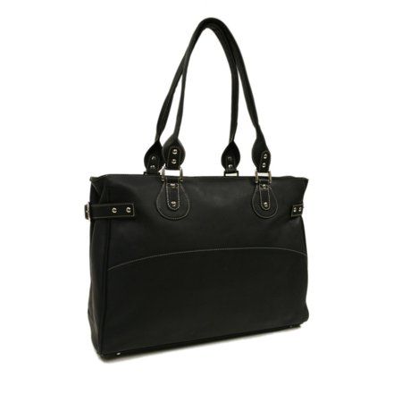 Piel Leather Large Ladies Side Strap Tote - Black