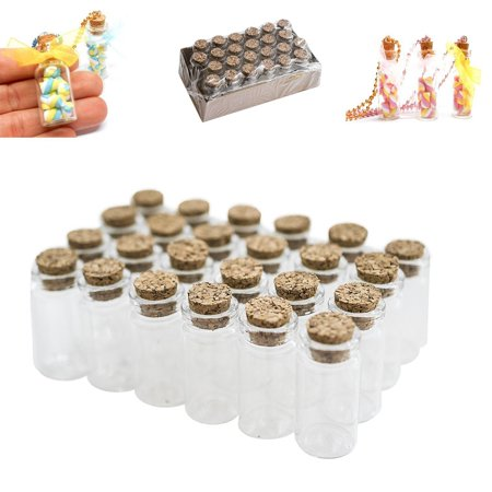 Mini Clear Glass Jars Bottles with Cork Stoppers for Arts & Crafts, Projects, Decoration, Party Favors (1.5