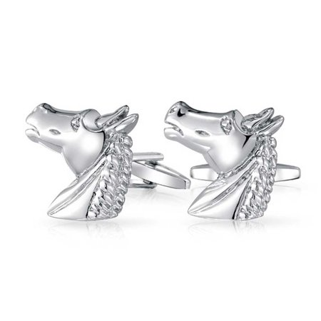 - Thoroughbred Horse Head Equestrian Cowboy Shirt Cufflinks For Men Silver Tone Brass Steel Hinge Back