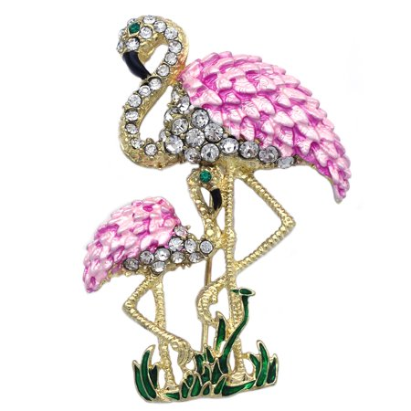 cocojewelry Pink Mom and Baby Two Flamingo Bird Brooch Pin Women Ladies Fashion Jewelry