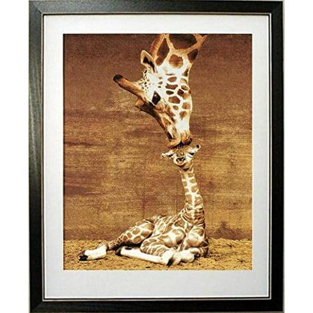 buyartforless Framed  Makulu Giraffe Mother Love First Kiss By Ron D'Raine Art Print poster, 20 X 16
