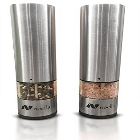 #1 Automatic Salt and Pepper Grinder Set: Best Electric Pepper Mill and Salt Grinder on the Market By Noella with LED Light, Quality Stainless Steel Construction - 100x Better Than Manual
