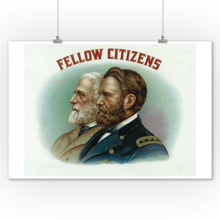 - Fellow Citizens Brand Cigar Box Label (9x12 Art Print, Wall Decor Travel Poster)