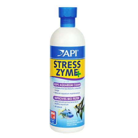 API Stress Zyme, Freshwater And Saltwater Aquarium Cleaning Solution, 16 oz (Saltwater Tank Care)