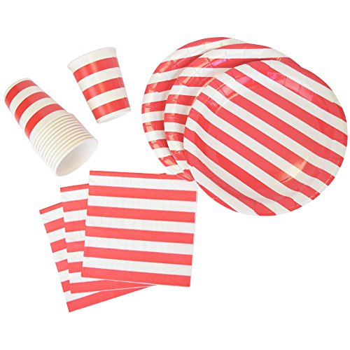 Just Artifacts Disposable Party Tableware 44pcs Striped Pattern Dining Set (Round Plates, Cups, Napkins) - Color: Red - Decorative Tableware for Parties, Baby Showers, and Life Celebrations!