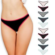 Emprella Women's Underwear Thong Panties - 10 Pack Colors and Patterns May Vary