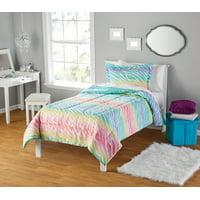 Pastel Rainbow Zebra Comforter Set - Twin XL