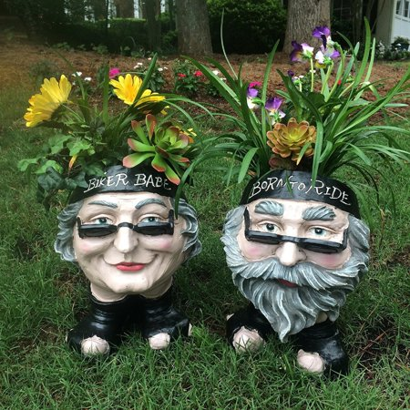 Face Planters | Homestyles Muggly Biker Dude And Biker Babe Painted 12 H Face