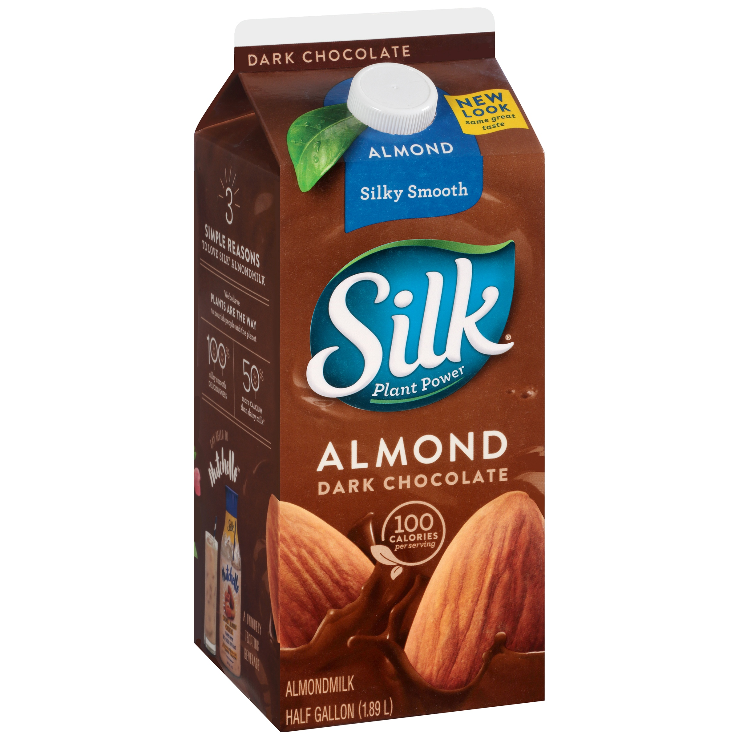 Silk Almond Dark Chocolate Non-Dairy Almondmilk, Half Gallon ...